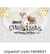 Clipart Of A Merry Christmas And Happy Holidays Greeting With A Snowman And Snowflakes Royalty Free Vector Illustration