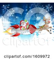 Santa Sleigh Rocket Christmas Background