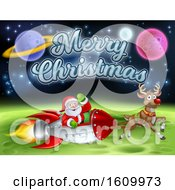 Santa Claus Rocket Sleigh Merry Christmas Cartoon