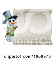 Snowman Christmas Sign Cartoon