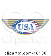 Circle Of Stars And Stripes Around The Usa Made In The United States With Wings