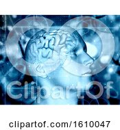3D Medical Background With Male Figure And Brain Highlighted