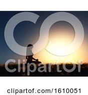3D Female In Yoga Position Against Sunset Sky
