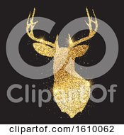 Glittery Gold Deer Head Silhouette 1909 by KJ Pargeter