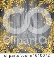 Christmas Background With Gold Fir Tree Branches On A Wooden Texture