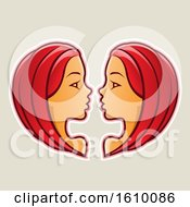 Clipart Of Cartoon Styled Red Haired Gemini Twins Icon On A Beige Background Royalty Free Vector Illustration by cidepix