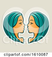 Clipart Of Cartoon Styled Persian Green Haired Gemini Twins Icon On A Beige Background Royalty Free Vector Illustration by cidepix