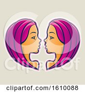 Clipart Of Cartoon Styled Magenta Haired Gemini Twins Icon On A Beige Background Royalty Free Vector Illustration by cidepix