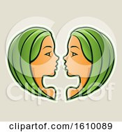 Clipart Of Cartoon Styled Green Haired Gemini Twins Icon On A Beige Background Royalty Free Vector Illustration by cidepix