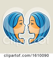 Clipart Of Cartoon Styled Blue Haired Gemini Twins Icon On A Beige Background Royalty Free Vector Illustration by cidepix