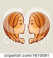 Cartoon Styled Orange Gemini Twins Icon On A Beige Background