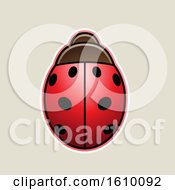 Poster, Art Print Of Cartoon Styled Red Ladybug Icon On A Beige Background