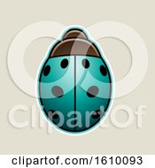 Poster, Art Print Of Cartoon Styled Persian Green Ladybug Icon On A Beige Background