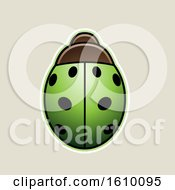 Poster, Art Print Of Cartoon Styled Green Ladybug Icon On A Beige Background