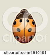 Poster, Art Print Of Cartoon Styled Orange Ladybug Icon On A Beige Background