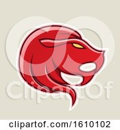 Clipart Of A Cartoon Styled Red Icon On A Beige Background Royalty Free Vector Illustration by cidepix