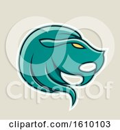 Clipart Of A Cartoon Styled Persian Green Leo Lion Head Icon On A Beige Background Royalty Free Vector Illustration
