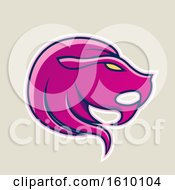 Clipart Of A Cartoon Styled Magenta Leo Lion Head Icon On A Beige Background Royalty Free Vector Illustration by cidepix