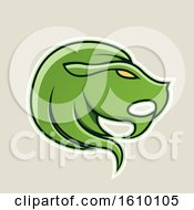 Clipart Of A Cartoon Styled Green Leo Lion Head Icon On A Beige Background Royalty Free Vector Illustration by cidepix