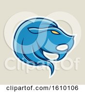 Clipart Of A Cartoon Styled Blue Leo Lion Head Icon On A Beige Background Royalty Free Vector Illustration by cidepix