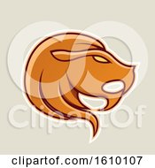 Clipart Of A Cartoon Styled Orange Leo Lion Head Icon On A Beige Background Royalty Free Vector Illustration by cidepix