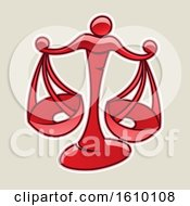 Cartoon Styled Red Libra Scales Icon On A Beige Background