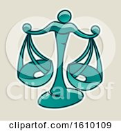 Cartoon Styled Persian Green Libra Scales Icon On A Beige Background