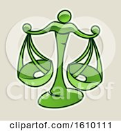 Cartoon Styled Green Libra Scales Icon On A Beige Background