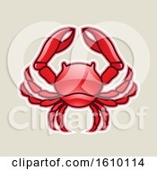 Cartoon Styled Red Cancer Crab Icon On A Beige Background