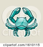 Clipart Of A Cartoon Styled Persian Green Cancer Crab Icon On A Beige Background Royalty Free Vector Illustration