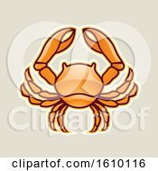 Clipart Of A Cartoon Styled Orange Cancer Crab Icon On A Beige Background Royalty Free Vector Illustration