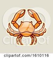 Cartoon Styled Orange Cancer Crab Icon On A Beige Background