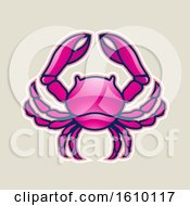 Cartoon Styled Magenta Cancer Crab Icon On A Beige Background