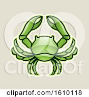 Clipart Of A Cartoon Styled Green Cancer Crab Icon On A Beige Background Royalty Free Vector Illustration