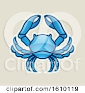 Cartoon Styled Blue Cancer Crab Icon On A Beige Background