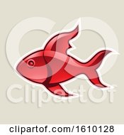 Clipart Of A Cartoon Styled Red Fish Icon On A Beige Background Royalty Free Vector Illustration