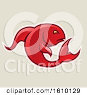 Cartoon Styled Red Jumping Fish Icon On A Beige Background