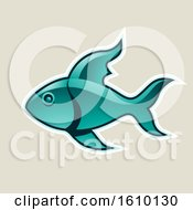 Clipart Of A Cartoon Styled Persian Green Fish Icon On A Beige Background Royalty Free Vector Illustration