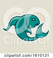 Cartoon Styled Persian Green Jumping Fish Icon On A Beige Background