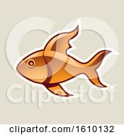 Clipart Of A Cartoon Styled Orange Fish Icon On A Beige Background Royalty Free Vector Illustration