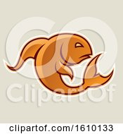 Cartoon Styled Orange Jumping Fish Icon On A Beige Background