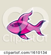 Cartoon Styled Magenta Fish Icon On A Beige Background
