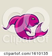 Cartoon Styled Magenta Jumping Fish Icon On A Beige Background