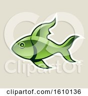 Cartoon Styled Green Fish Icon On A Beige Background