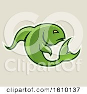 Cartoon Styled Green Jumping Fish Icon On A Beige Background