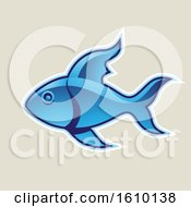 Cartoon Styled Blue Fish Icon On A Beige Background