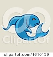 Cartoon Styled Blue Jumping Fish Icon On A Beige Background