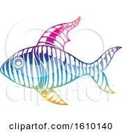 Clipart Of A Sketched Colorful Fish Royalty Free Vector Illustration by cidepix