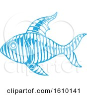 Clipart Of A Sketched Blue Fish Royalty Free Vector Illustration by cidepix