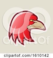 Clipart Of A Cartoon Styled Red Profiled Eagle Mascot Head Icon On A Beige Background Royalty Free Vector Illustration